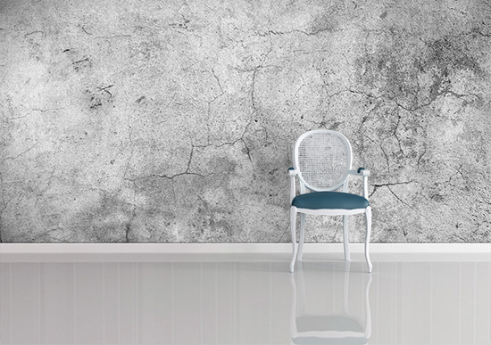 Wallpaper vs paint variety durability cost use in for Concrete finish wallpaper
