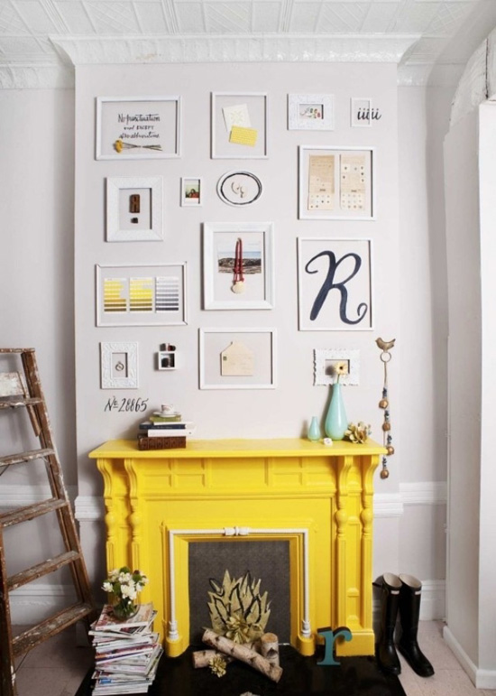 Yellow fireplace and white interior
