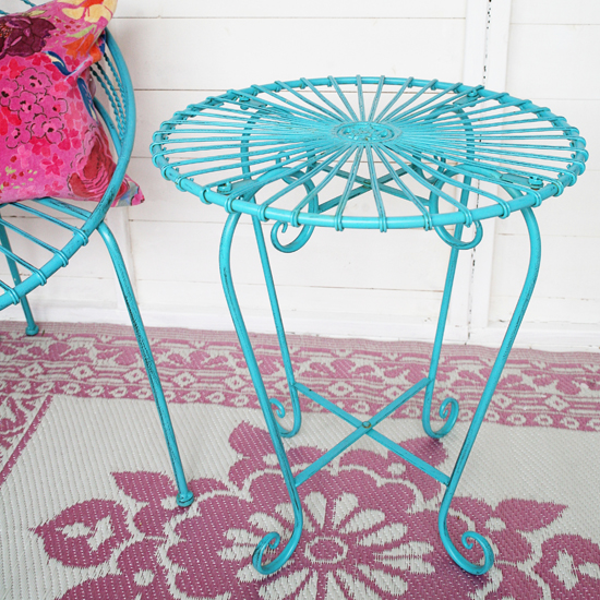 retro blue garden table
