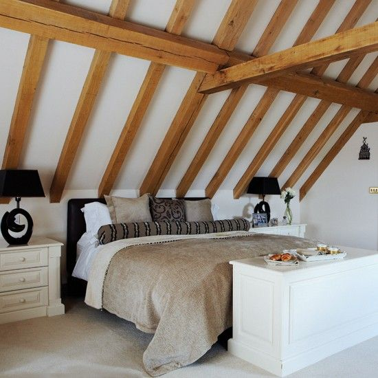 Beams in bedroom