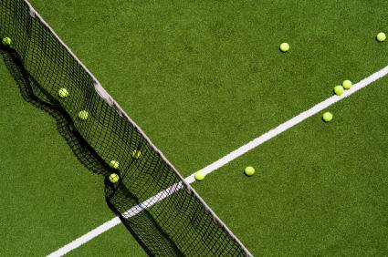 Tennis balls on a field