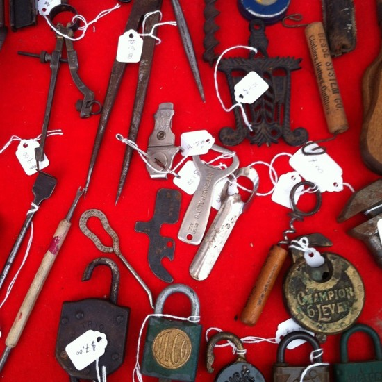 tools on red background