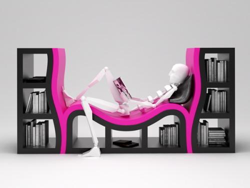 built-in bench bookshelf