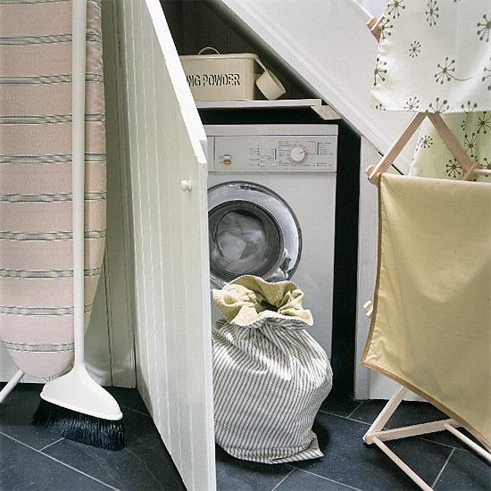 washing machine under the stairs