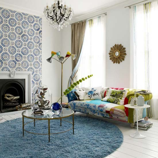blue rug on hard floor