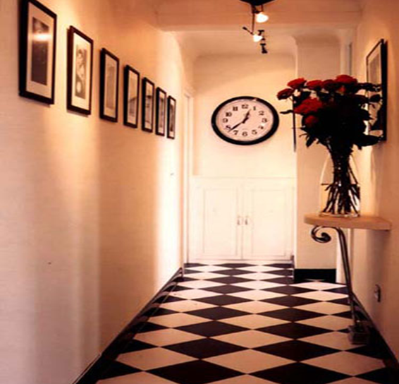 black and white tiled hallway
