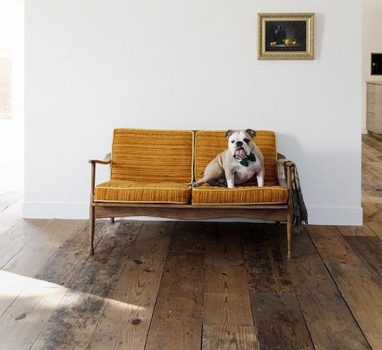 wooden floor with mustard sofa