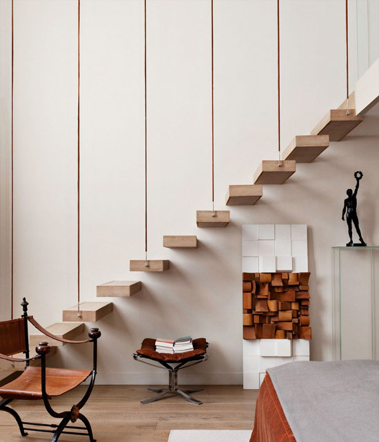 floating wood stairs