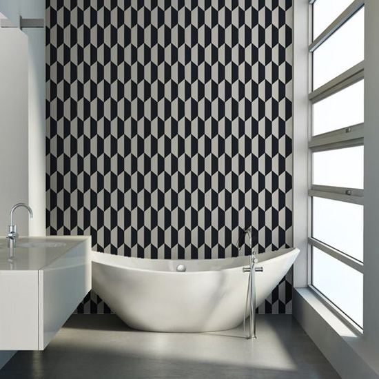 geometric wallpaper in a bathroom