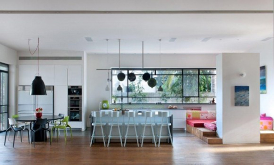 open plan kitchen colour zoning