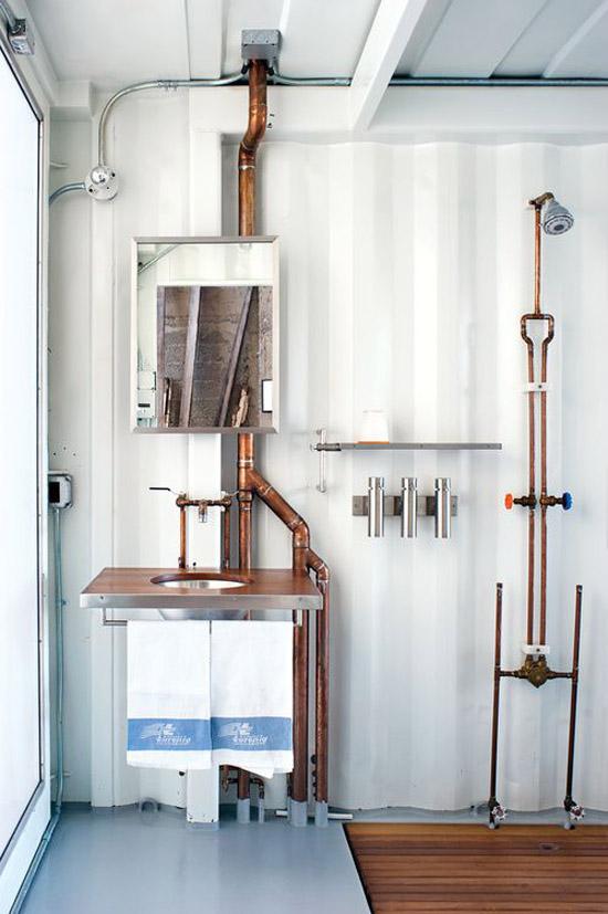bare copper pipes