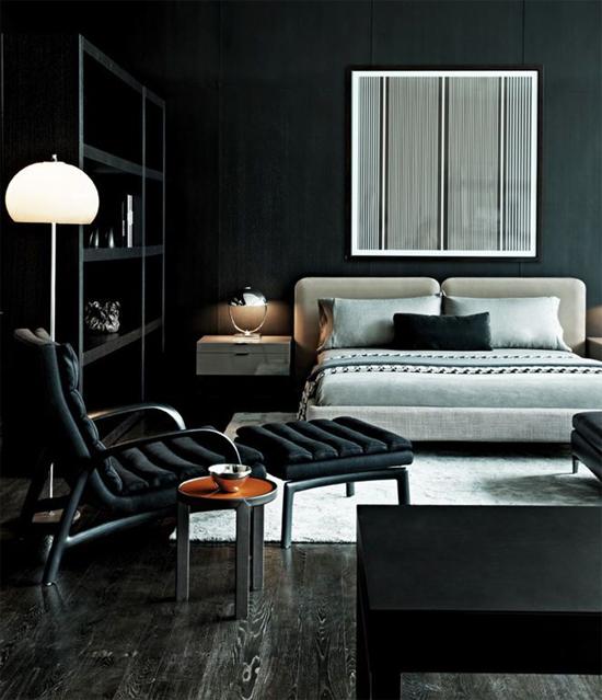 Dark interior with wall art
