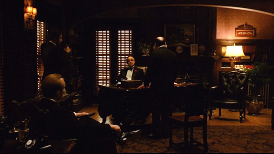 The film set of The Godfather