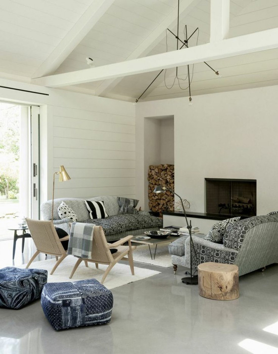 living room design with polished concrete