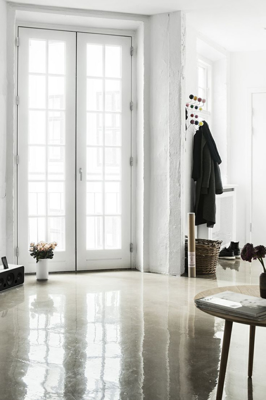 polished concrete in living room