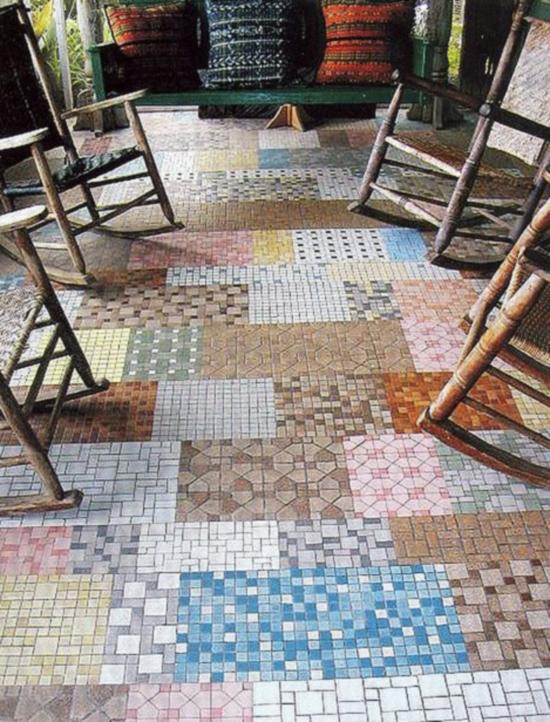 Conservatory floor patchwork tiles