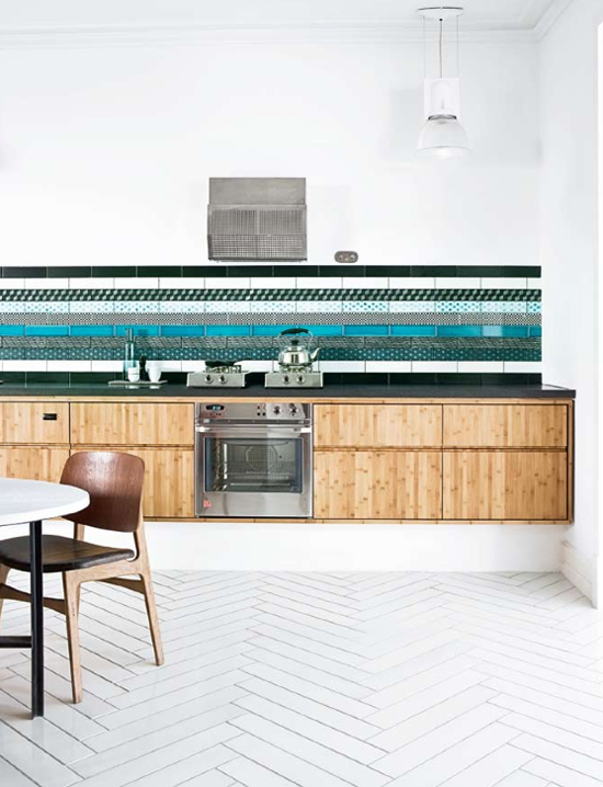 kitchen with patched tiles