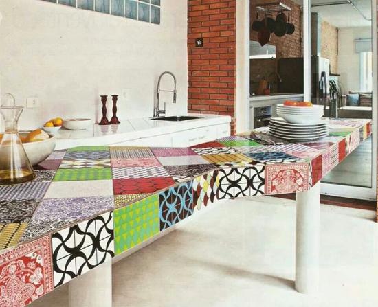 Colourful tiles kitchen tables