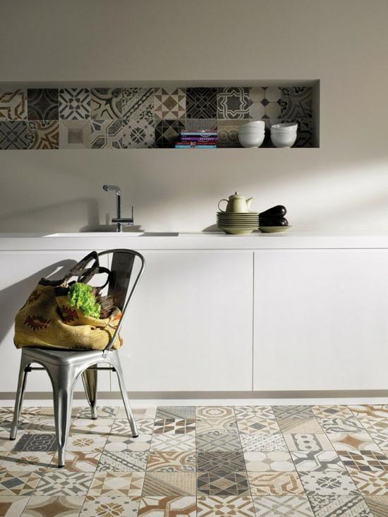 Patchwork tiles in kitchen shelves