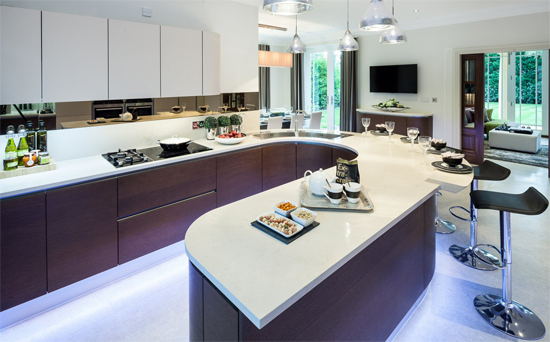 kitchen design with floor lights