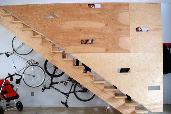 bikes under the stairs