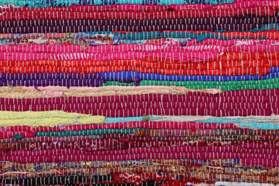 Recycling, handmade colorful ethnic retro rug