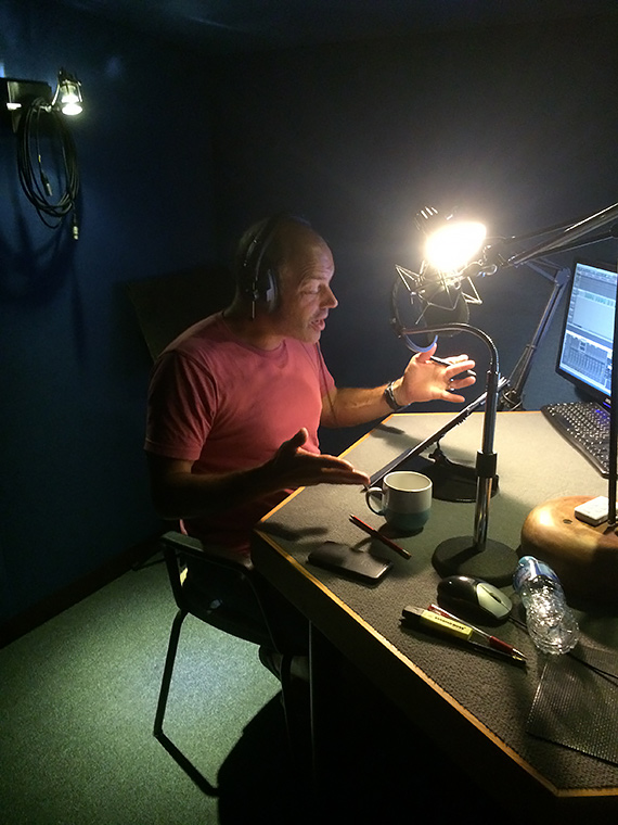 Phil Spencer recording the voiceover