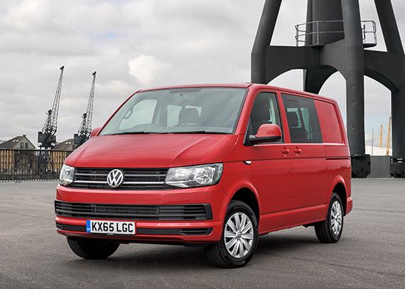 red VW transporter van