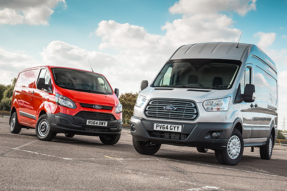 red and grey Ford Transit vans