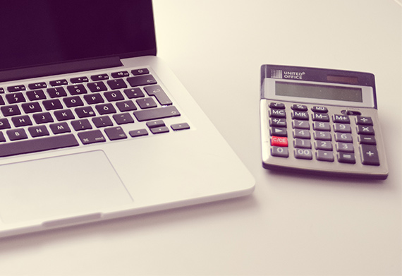 laptop and calculator