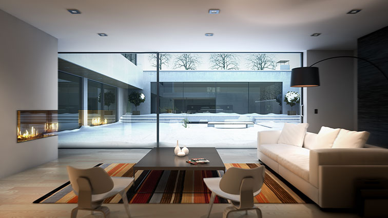 living room with glass pane