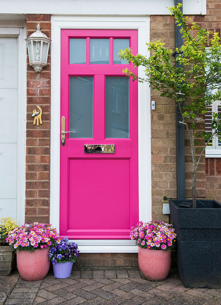 pink cottage door