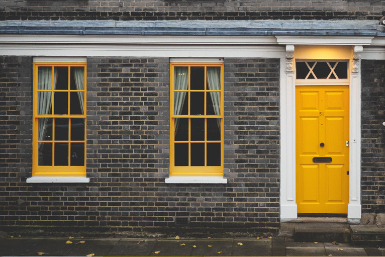Bold yellow door & windows