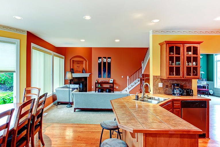 Orange living room with blue features.