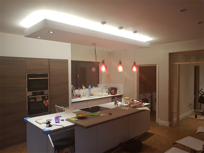 spotlights and ceiling lights installation on top of kitchen island