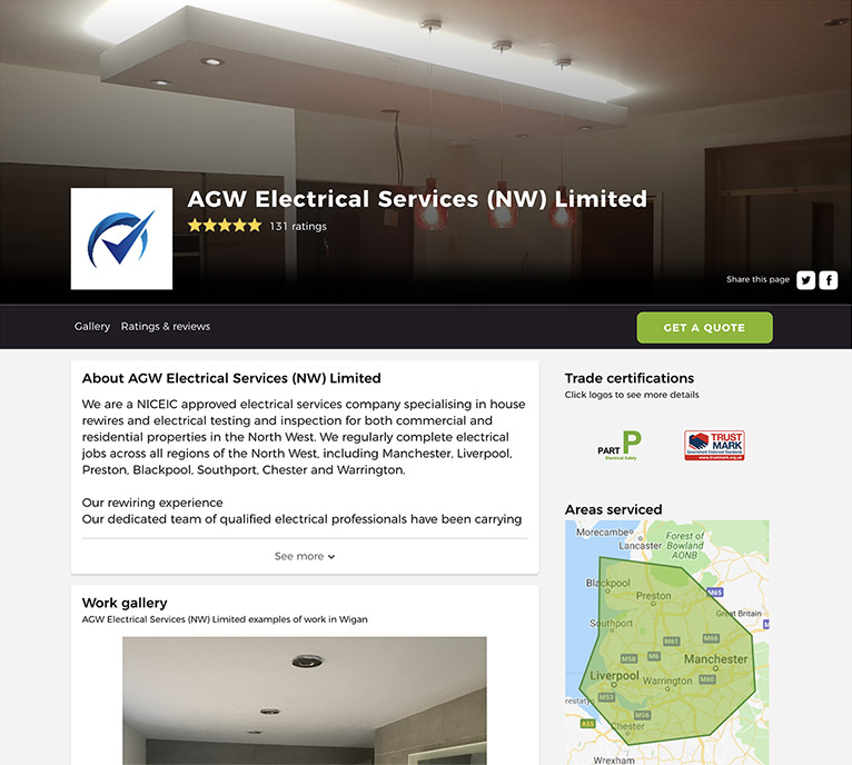 AGW Electrical Services profile on Rated People