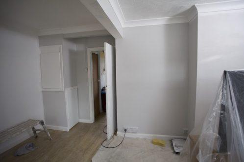 freshly painted room