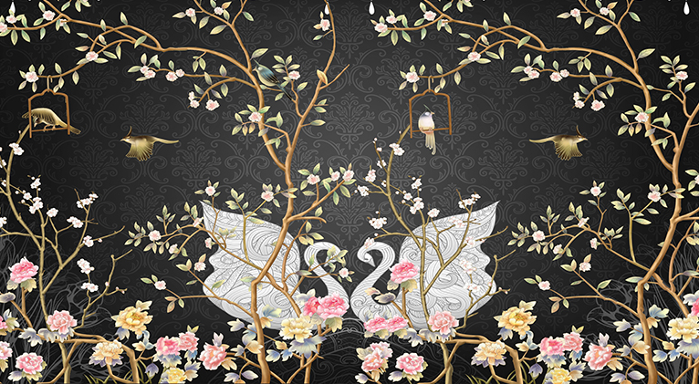 Swans and tree branches design wallpaper