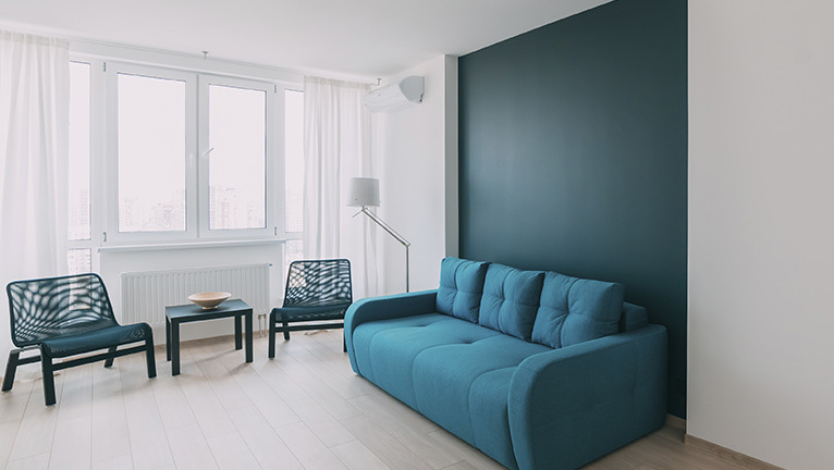 Blue sofa against a blue feature wall