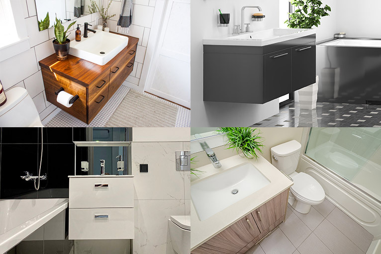 4 different styles of vanity unit