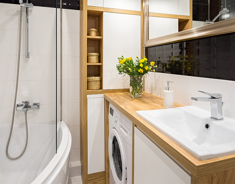 Bathroom with built-in storage solutions