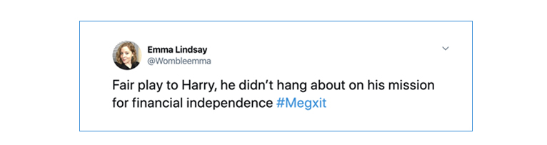 Tweet saying Harry didn't hang about with his financial independence