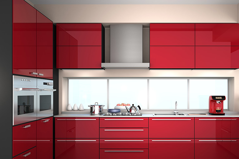 Kitchen design trend - modern kitchen with sleek red cabinets