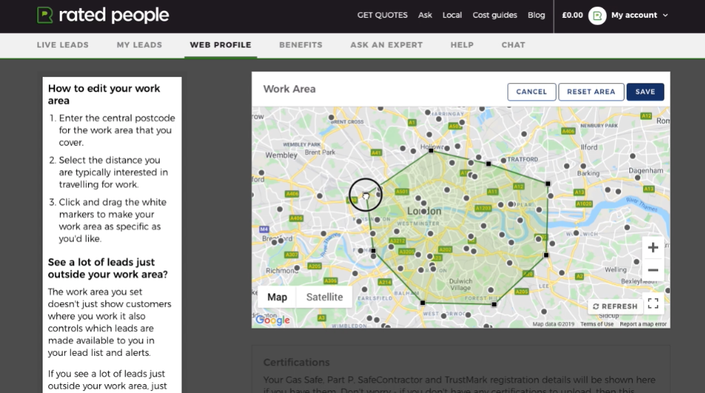 'Work Area' pop up box within the 'Web profile' section of a tradesperson's Rated People account, displaying a section of a map of London