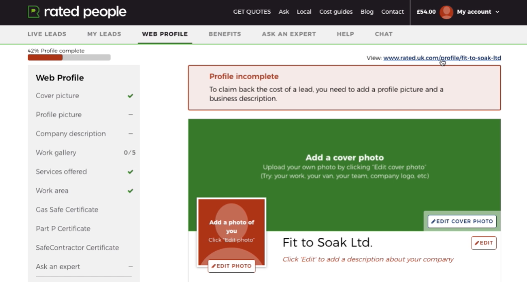 Incomplete 'Web profile' section of a tradesperson's Rated People account, with a red warning box stating that the profile picture and business description are missing