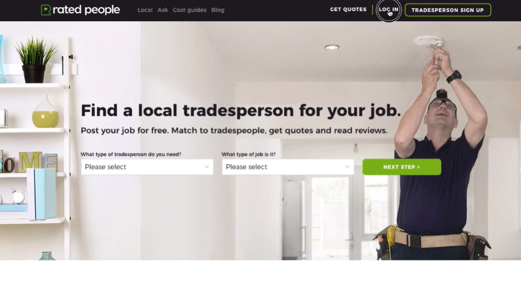 Rated People website homepage, with the mouse hovering over the 'Log in' button
