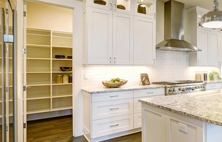 Modern white kitchen and pantry