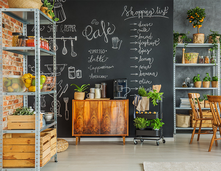 Rustic kitchen with blackboard shopping list