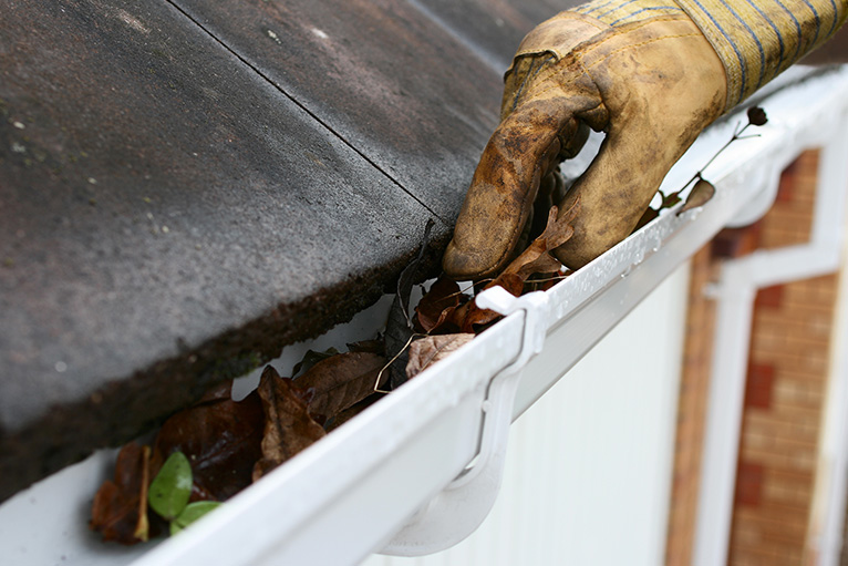 Gutters being cleaned