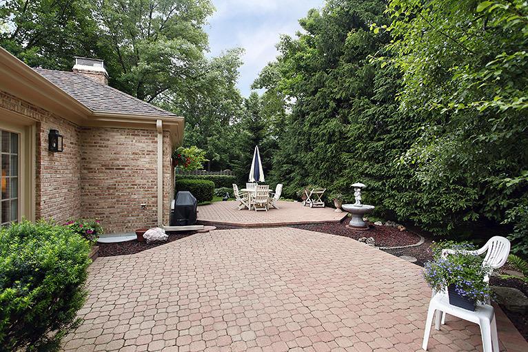 Patio in landscaped garden